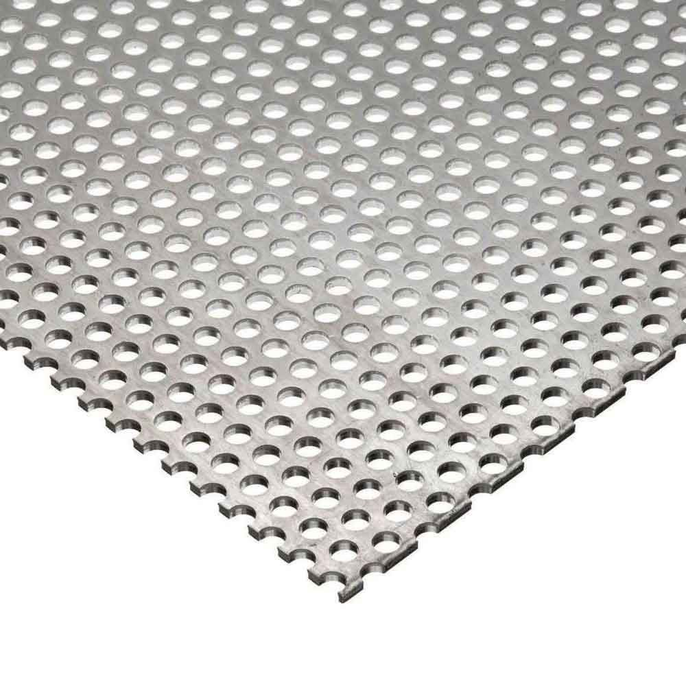 Online Metal Supply 304 Stainless Steel Perforated Sheet, Thickness: 0.075 (14 ga.), Width: 24', Length: 48', Hole Size: 0.125 (1/8), Staggred 0.188 (3/16) Width: 24 Length: 48
