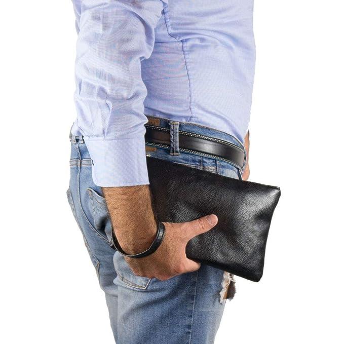 e93b9ac0e8 Pochette uomo da polso morbida borsa a mano piccola nera Borsello casual  Borsetta x chiavi portafoglio moto sportiva ragazzo viaggio primavera  estate 2019 ...