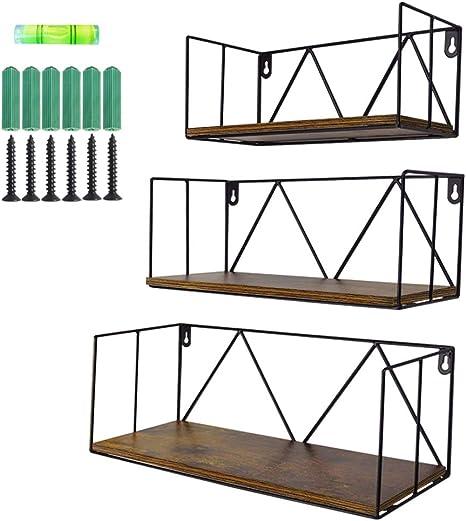 Amazon Com Floating Wall Shelves Set Of 3 Black Metal Wire Hanging Rustic Storage Shelf Decor Organizer For Bedroom Bedside Kitchen Bathroom Living Room Kitchen Dining