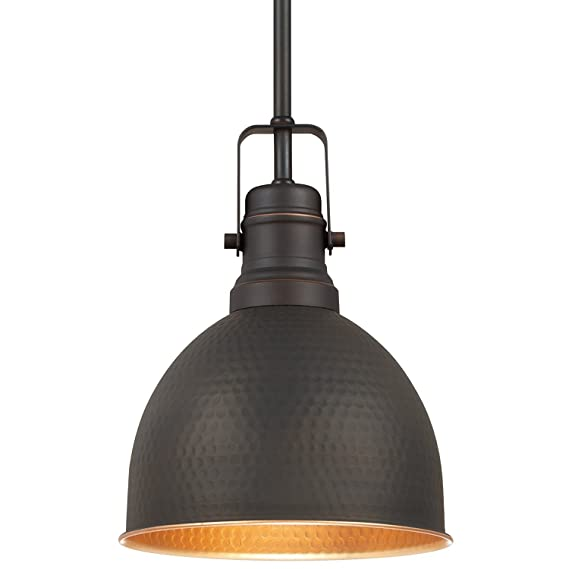 Westinghouse 6345600 One-Light Mini Pendant Industrial Hammered Oil Rubbed Bronze Finish with Highlights (2 Pack), Piece - - Amazon.com