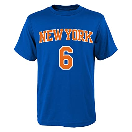 818680cf3 Kristaps Porzingis New York Knicks Youth Blue Name and Number Player T-shirt  Small 8