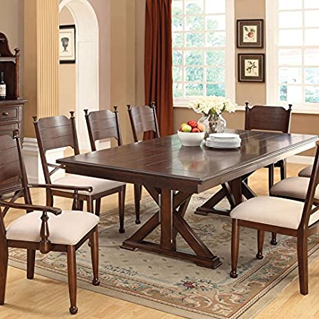 Descanso Old English Style Brown Cherry Finish 9 Piece Dining Table Set