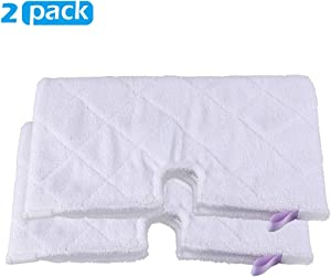 Magicmops 2 Pack Microfiber Steam Pocket Mop Pads Compatible for Shark Euro Pro Mop Head S3500 Series,S3501,S3601,S3550,S3901,S3801,SE450,S3801CO, S3601D,SE450,Machine Washable, Reusable -White