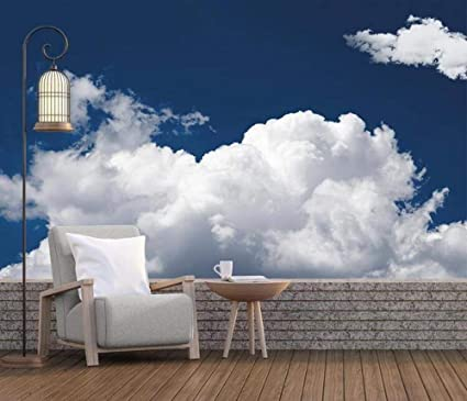 Wallpaper 3D Mural Simple Blue Sky and White Clouds Wall ...
