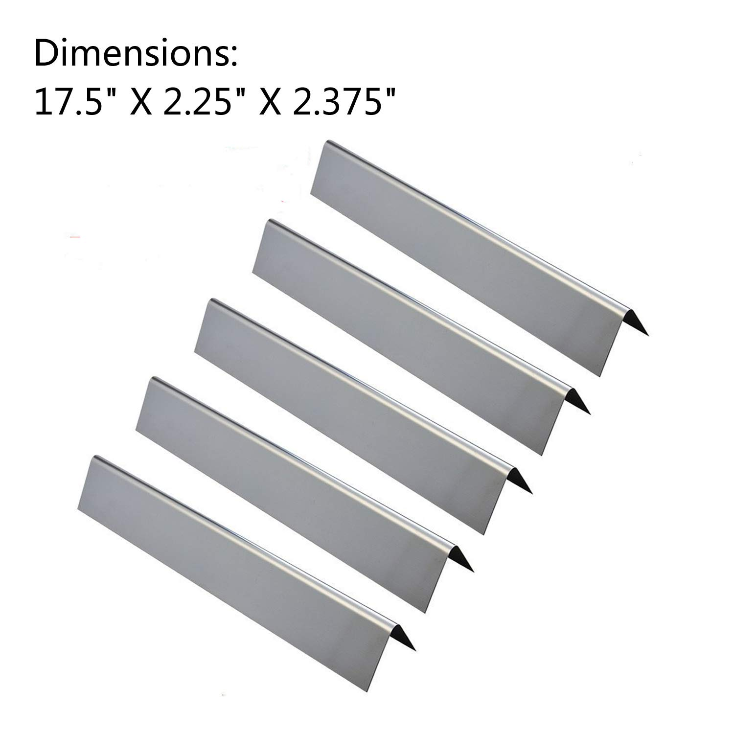 GasSaf 17.5inch Flavorizer Bar Replacement for Weber 7620, Genesis 300, E310, S310, E330, EP-330 Series Grill, 5-Pack Stainless Steel Flavor Bar (L17.5 x W2.25 x H2.375) by GasSaf