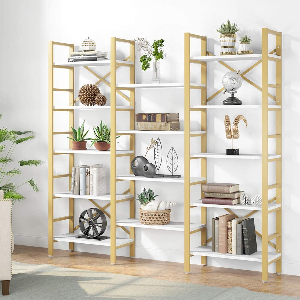 Tribesigns Triple Wide 5-Shelf Bookcase, 5 Tier Etagere Large Open Bookshelf Faux White Marble Look Shelves Wood and Metal Bookcases Furniture for Home & Office, Gold
