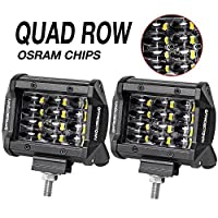 LED Pods, OFFROADTOWN 2pcs 4'' QUAD Row LED Light Bar OSRAM Work Light Flood Beam Off road Driving Light Waterproof Fog lights LED Cubes for Truck Jeep Boat Car