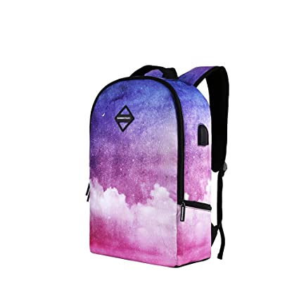 8e9c456cfd6a Simple Unique Powder Blue Gradient Star Cloud Print Backpack Fits 14 Inch  Slim Large-Capacity