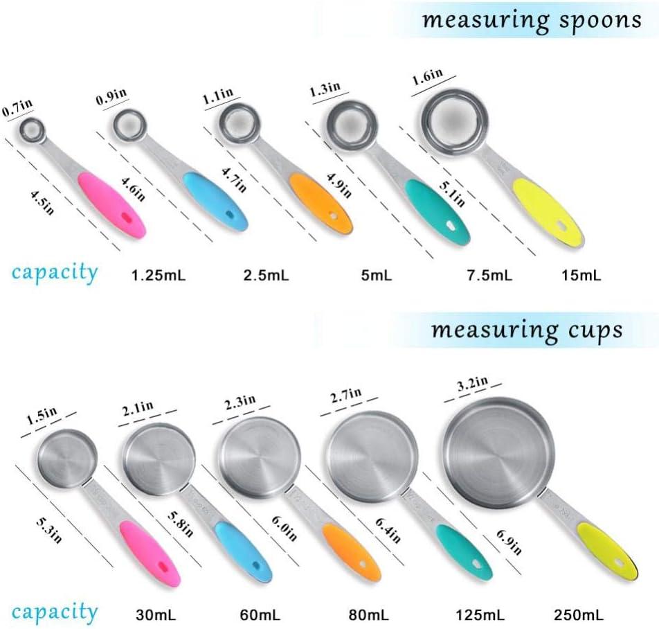 NNMNBV Mango de pl/ástico Juego de 10 cucharas medidoras y cucharas medidoras para Cocina Color Negro