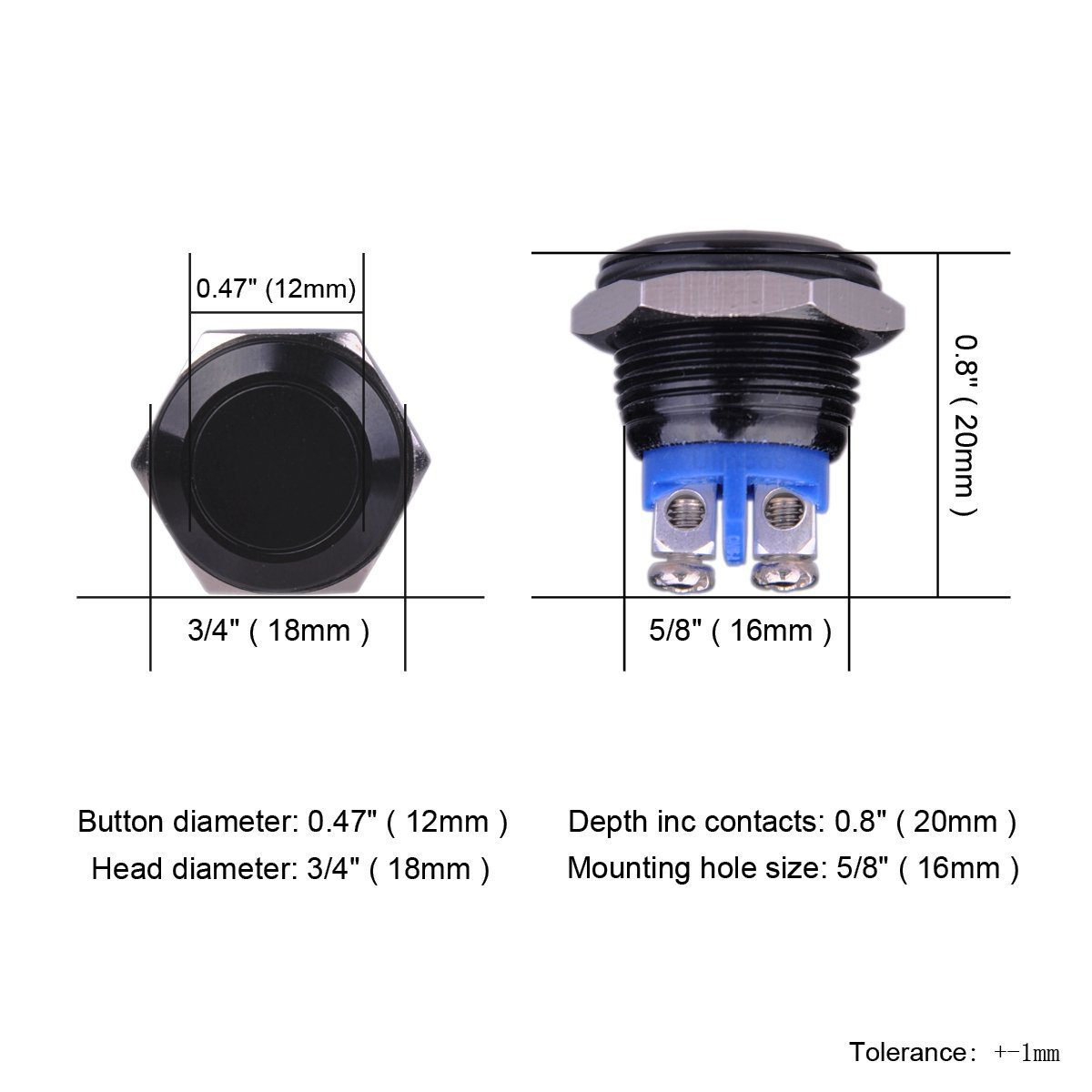 Winomo 16mm Momentary Push Button Switch 3a 250vac Spst 250v Off On 1 Circuit Car Van For Truck Boat Marine Diy Automotive