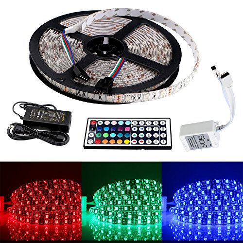 EverBrightt 1 Set RGB 5M 5050 300SMD LED Waterproof Flexible Led Strip Light PCB White For Car Truck Chassis Lighting House Decoration With 44 Key Remote and Power Adapter DC 220V to AC 12V