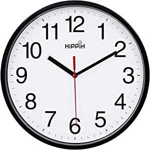 Black Wall Clock Silent Non Ticking Quality Quartz, Battery Operated 10 Inch Round Easy to Read for Home Office School Decor Clock