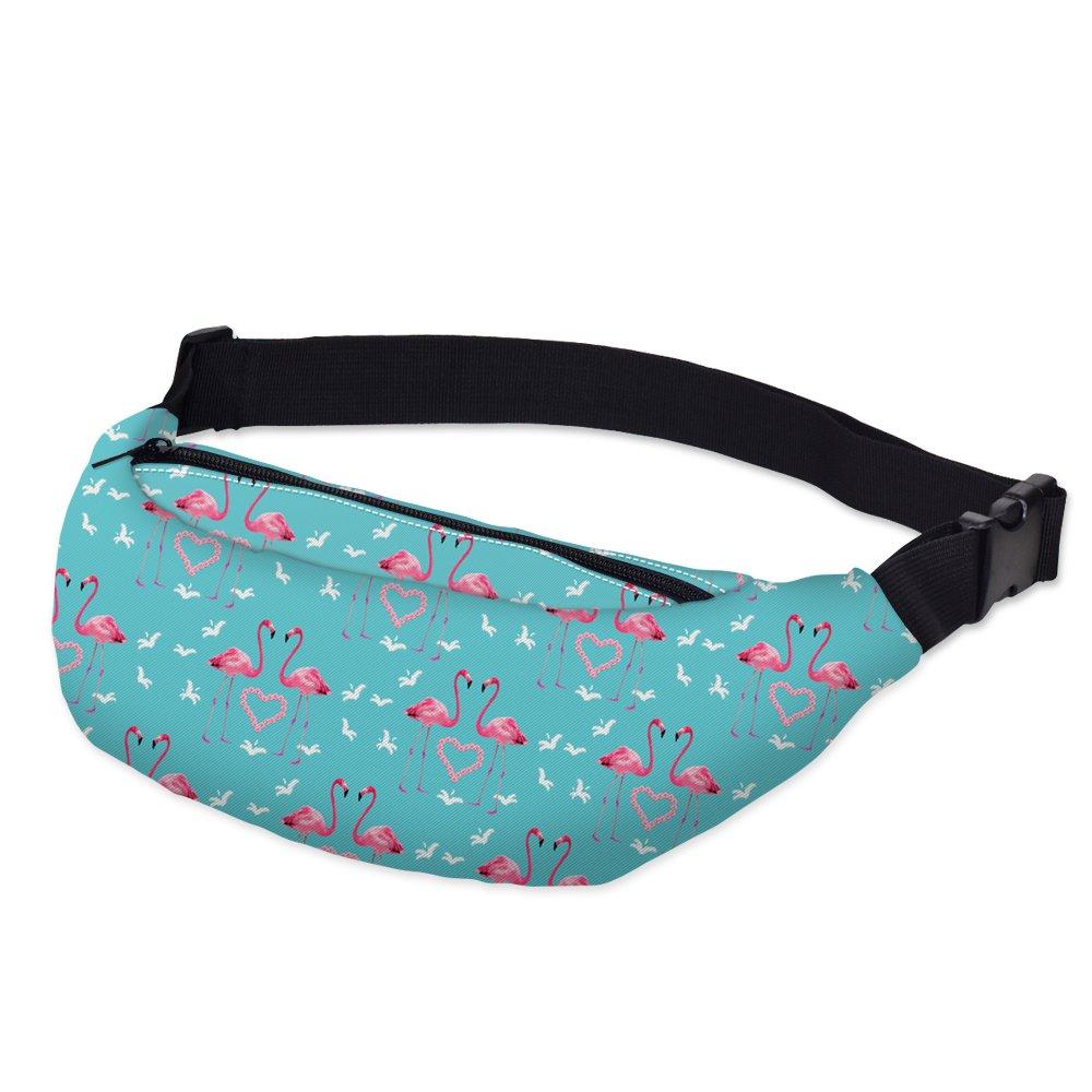 Hwyaobao 3D Flamingo Printed Fanny Pack for Women Girls Belt Bum Leg Waist Bag Travel Phone Money Waist Pouch Bag Womens Banana Bag