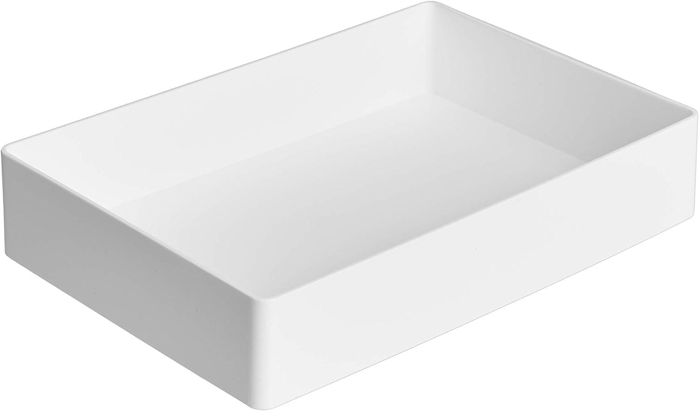 AmazonBasics Organizador de plástico, bandeja para accesorios, blanco