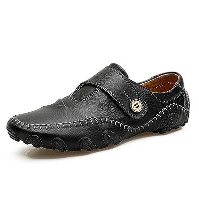 Men Loafers Leather Casual Luxury Genuine Leather Men Falts Shoes Mocasines ,Black,6.5