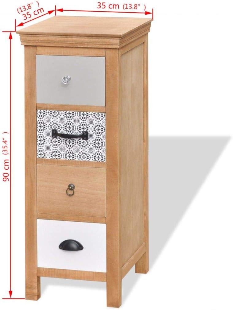Tuduo cajonera 35 x 35 x 90 cm de Madera Maciza Robusta, Resistente, diseño único Armario estantería para Oficina Armario baño: Amazon.es: Hogar