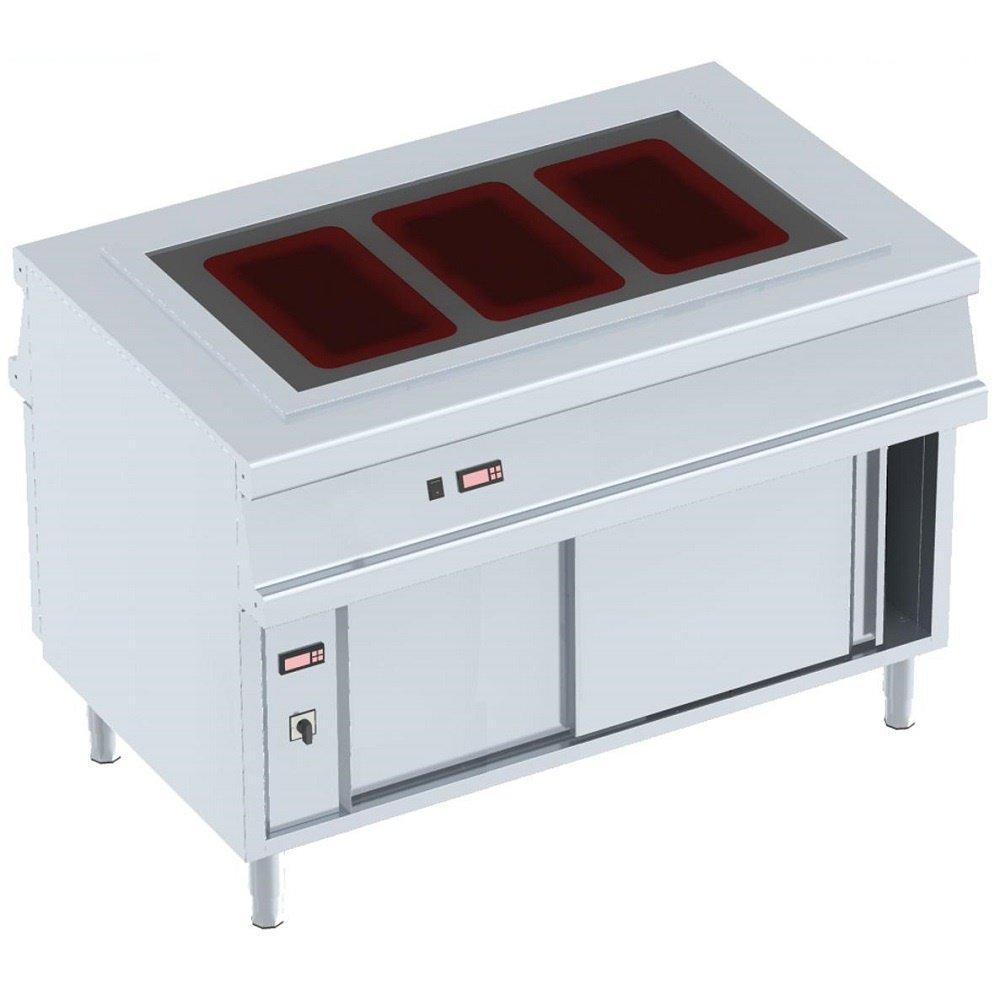 macfrin 10034G13vitrocéramique Hot Meubles avec réserve Assiette plate et sec, 3x 1/1GN, 2portes coulissantes, longueur 1200mm x 800mm x Largeur 900mm Hauteur, 4,4kW, 230/1V 4kW
