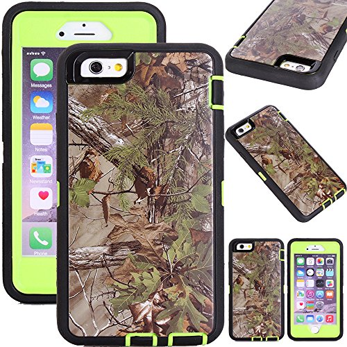 Kecko(TM)for iphone 6 case,Defender Tough Rubber Tree Forest Camo Shockproof Weather Impact Resistant Military Grade Heavy Duty Hybrid Rugged Full Body Protective Built-in Screen Protector Case with Camouflage Woods Design for iphone 6 4.7 inch(for Regular iphone 6) (Forest Green)