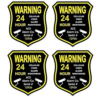 "4 Pc Massive Unique Warning 24 Hour Cellular Video Alarm Monitoring GPS Security Sticker Sign Being Watched Truck Boat Decals Window Premises Home Trespassing Fence Property Signs Size 3.5""x4"""