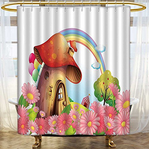 (Mikihome Shower Curtain Customized Shroom in Garden of Rainbow and Fruit Trees Stripes Circus Tent Balloons Bathroom Set with Hooks W72 x H78 inch)