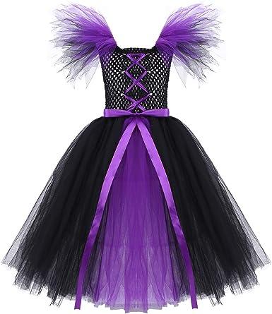 dPois Tutú Negro Púrpura Disfraz Bruja para Niña 2-12 Años Vestido ...