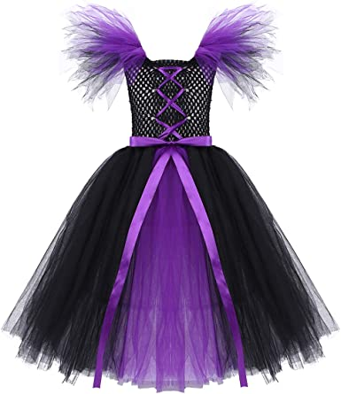 Baby Girls Halloween Costume Tutu Dress Maleficent Evil Queen Cosplay Party NEW