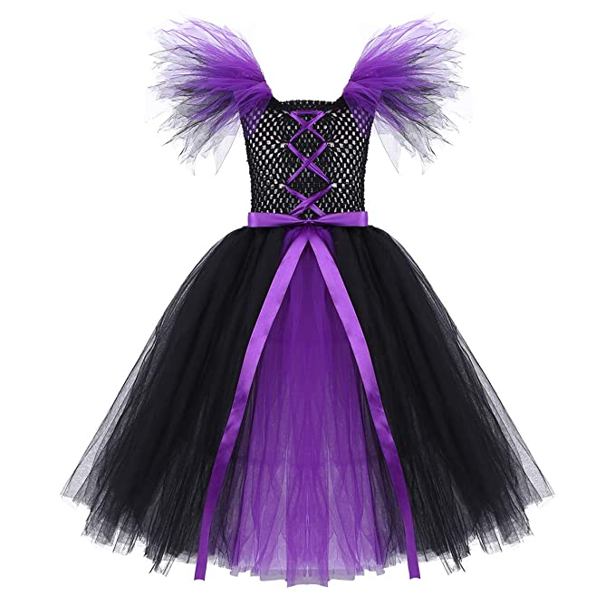 Amazon.com: Freebily Kids Girls Witch Costume Halloween Cosplay Carnival Party Bowknot Mesh Tutu Dress: Clothing