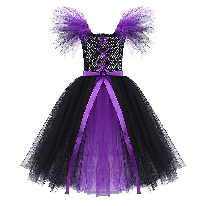 iiniim Disfraz Bruja Vampiresa Payaso Niña Vestido con Lazada Princesa Tutú Tul Ropa de Fiesta Actuación Halloween Cosplay Carnaval Party Costume 2-12 ...