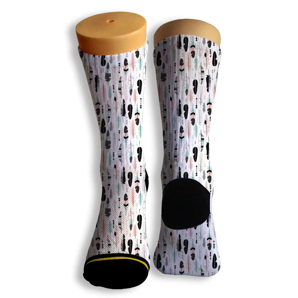 Basketball Soccer Baseball Socks by Potooy Dark Grey Feathers 3D Print Cushion Athletic Crew Socks for Men Women