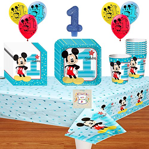 Mickeys 1st Birthday Fun To Be One Deluxe Party Pack Bundle (Mickey Mouse 1st Birthday Invitations)