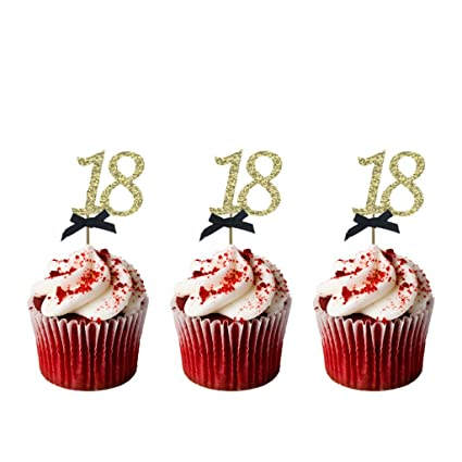 Lissielou Number 18 Birthday Cupcake Toppers 18th Birthday Cake