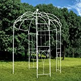 OUTOUR French Style Birdcage Shape Heavy Duty Gazebo, 9' Highx 6'6'' Wide, Pergola Pavilion Arch Arbor Arbour Plants Stand Rack for Outdoor Garden Lawn Backyard Patio, Climbing Vines, Roses, White