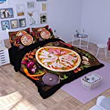 """HIGOGOGO 3-Piece(1 Duvet Cover79""""W*91""""L and 2 Pillow Shams:19""""W*29""""L) Polyester Unique Pattern Printed Pizza Boys Girls Duvet Cover Set Twin Full Queen Size(Full)"""
