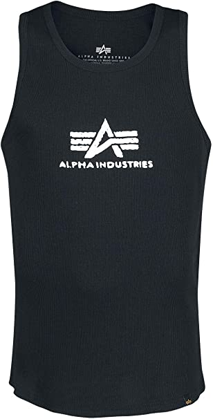 Alpha Industries Logo Camiseta sin mangas black/white: Amazon.es ...