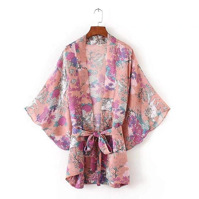 Cardigan Donna Elegante Stampa Fiore Cappotto Kimono Estivi