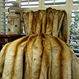 Thomas Collection Chinchilla Faux Fur Throw Blanket & Bedspread, Chinchilla Faux Fur, Beige Tan Goldish Brown Chinchilla Fur Throw, Soft Fur, Made in America, 16418