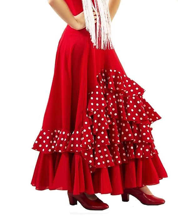 Falda de NIÑA para Baile Flamenco o sevillanas, Cinco Volantes en Cascada, Lunares pequeños Blancos: Amazon.es: Ropa y accesorios