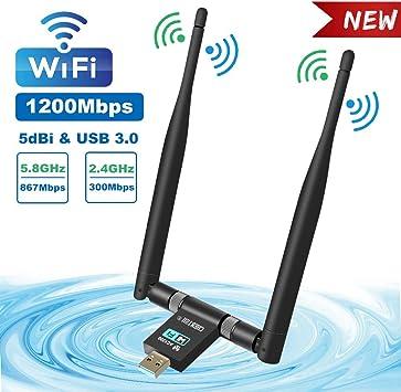 TouchSKY Adaptador Antena WiFi, USB 3.0 Dual Band Receptor WiFi 2 Antenas WiFi de 5dBi Soporte de 5Ghz 867Mbps + 2.4GHz 300 Mbps para PC con Windows ...