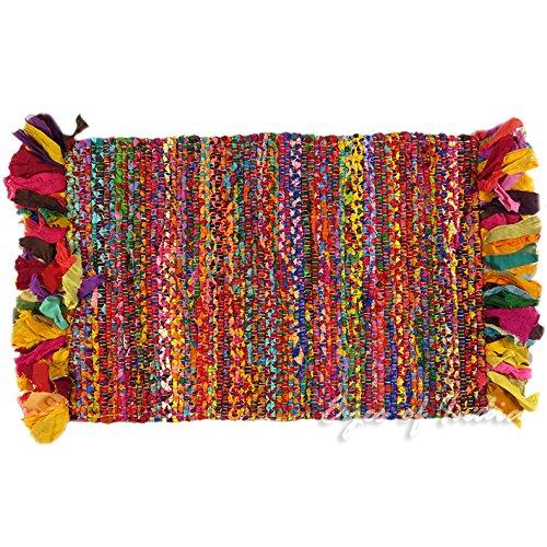 Eyes of India - 2 X 3 ft Multicolor Colorful Chindi Woven Rag Rug Indian Boho Decorative Bohemian