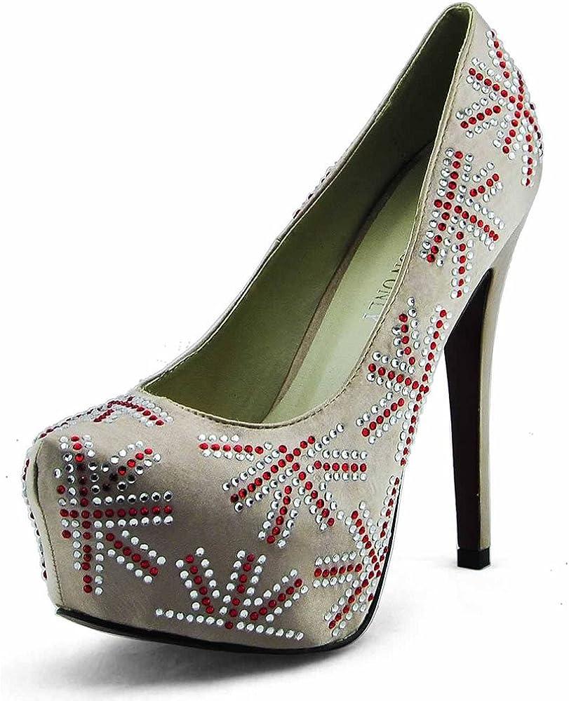 TrendStar Pump Shoes for Women Court Shoes Ladies Designer High Heels Platform Lace Party Stiletto New Pumps Style 3 Champagne