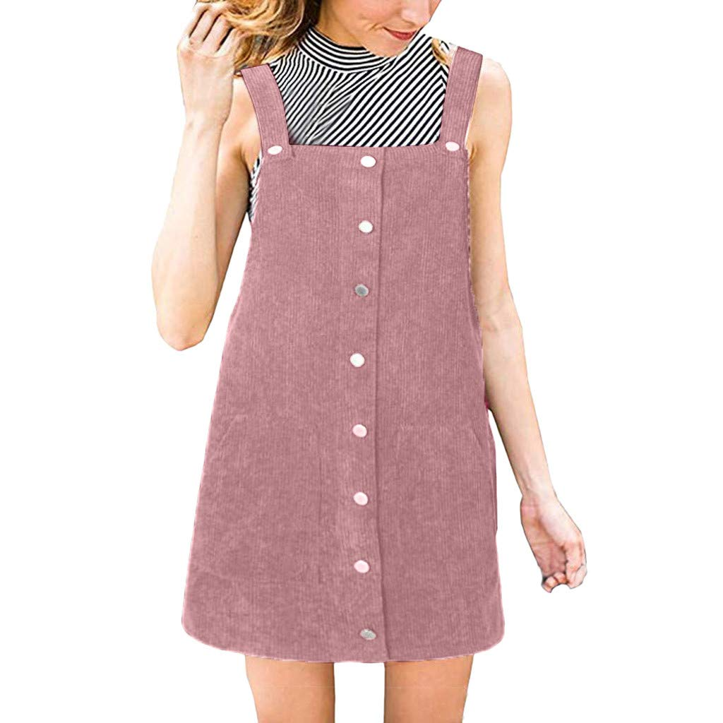 Ulanda Women's Straps A-line Corduroy Suspender Skirt Pinafore Bib Overall Dress with Pocket Pink