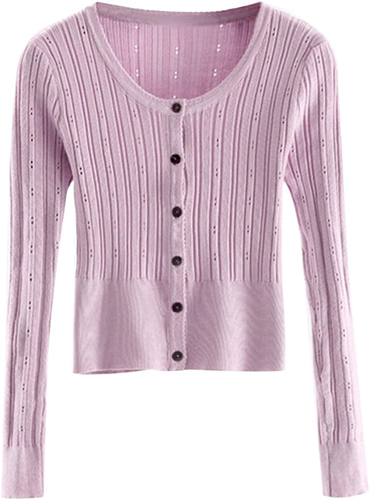 Starstreetcom Women Knit Cardigan Long Sleeve Plain Cropped Knitted Button Up Cardigan Short Open Sweater Knit Overcoat 9 Colors