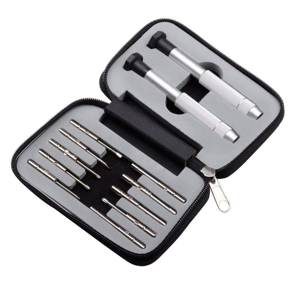 OTOOLWORLD 12 Pieces Pocket Precision Screwdriver Set Repair Tool Kit Slotted Eyeglass Smartphone Watch Screwdriver Set