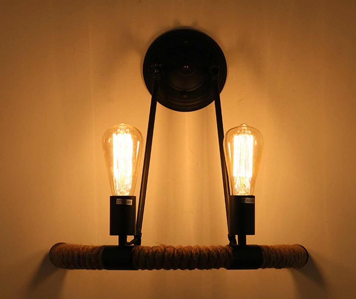 RUXUE Industrial Wall Sconces Light Vintage Style Hemp Rope 2-Light Wall Light Fixtures