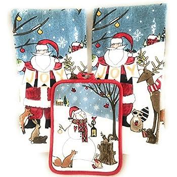christmas towel gift set kitchen decor holiday santa snowman 2towels and 1 - Santa Snowman 2