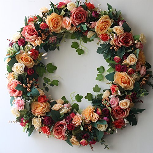 Door Wreath 24 inch Artificial Rose Flowers Home Wall Decor Vintage Style by LOUHO (Image #1)