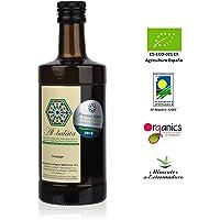Aceite de Oliva Extra Virgen Premium, ecológico y orgánico | AOVE Gourmet de extracción en frío, cosecha temprana de arbequina y morisca | Botella de 500ml y acidez 0,14º | Producto Bio de Extremadura