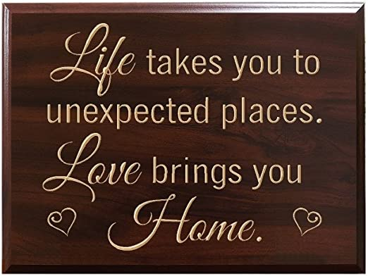 Amazon Com Timbercreekdesign Life Takes You To Unexpected Places Love Brings You Home Decorative Carved Wood Sign Quote Faux Cherry Home Kitchen