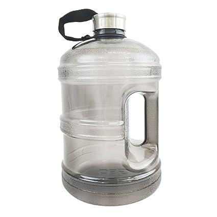 e3568f58b9 1 Gallon BPA Free Reusable Plastic Drinking Water Bottle w/Stainless Steel  Cap - Black