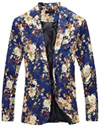 CFD Mens Casual Floral Print Open Front Blazer Jacket Coat